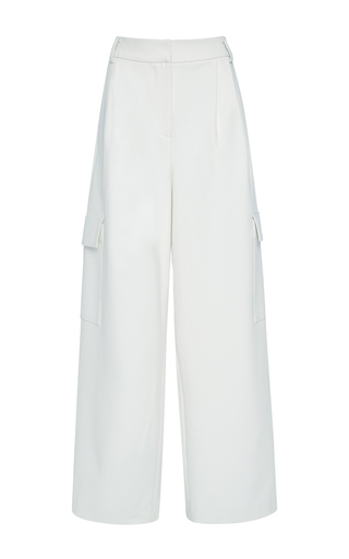 Medium tibi ivory anson stretch wide leg pant