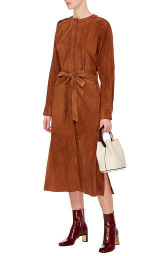 Burnt Paprika Placket Suede Dress by TIBI Now Available on Moda Operandi