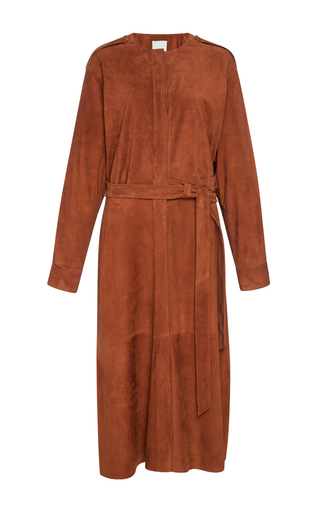Medium tibi orange burnt paprika placket suede dress