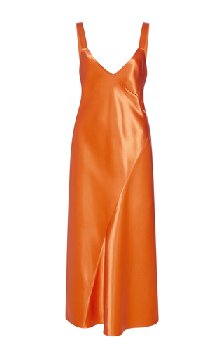 Medium tibi orange marmalade bias amoret seamed dress