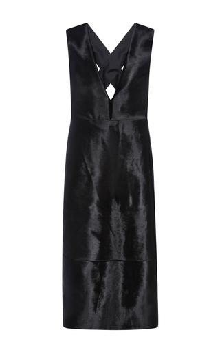 Medium tibi black deep v neck pony hair dress