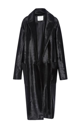 Medium tibi black pony hair midi coat