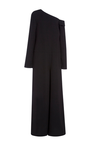 Medium tibi black asymmetrical off shoulder jumpsuit