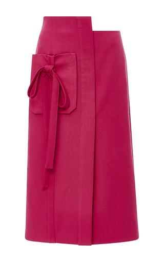 Medium monique lhuillier red bow tie pocket skirt