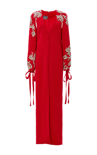 Medium monique lhuillier red v neck embroidered gown with tie cuffs