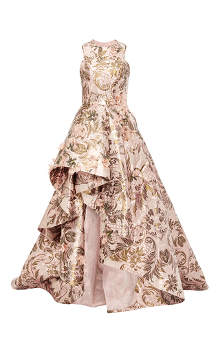 Medium monique lhuillier light pink high low tapestry gown
