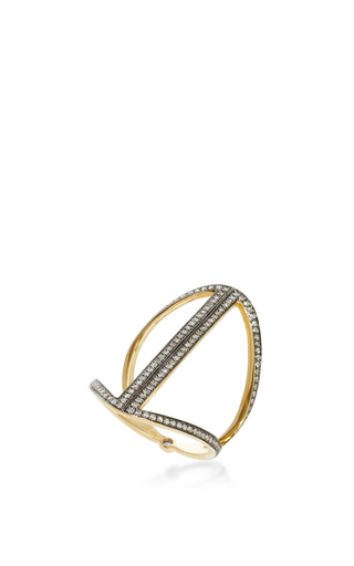 Rhodium Plated Rhombus Ring by NOOR FARES Now Available on Moda Operandi