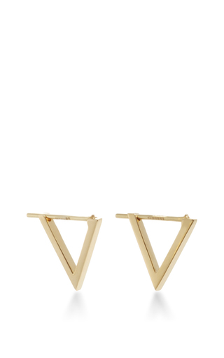 Medium noor fares gold triangle hoop earrings
