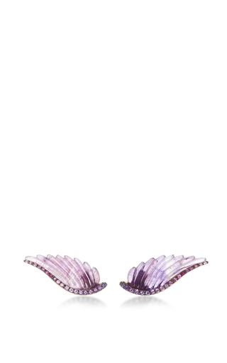 Medium noor fares purple amethyst wing earrings