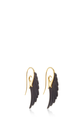 Medium noor fares black ebony wing earrings