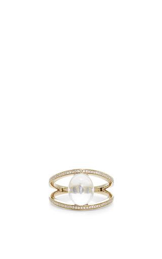 Medium noor fares white geometry 101 white quartz rhombus ring