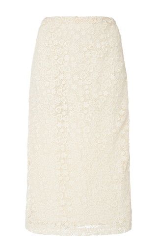 Medium red valentino ivory macrame pencil skirt