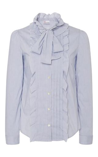 Medium red valentino light blue front ruffle blouse