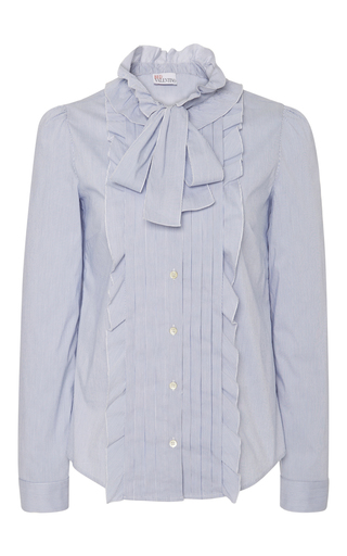 Medium red valentino light blue front ruffle blouse