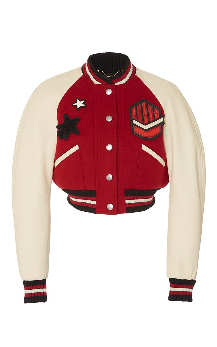 Cropped Rib Varsity Jacket