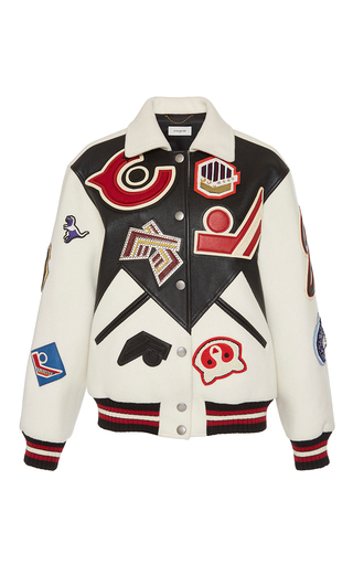 Medium coach 1941 ivory embroidered leather varsity jacket