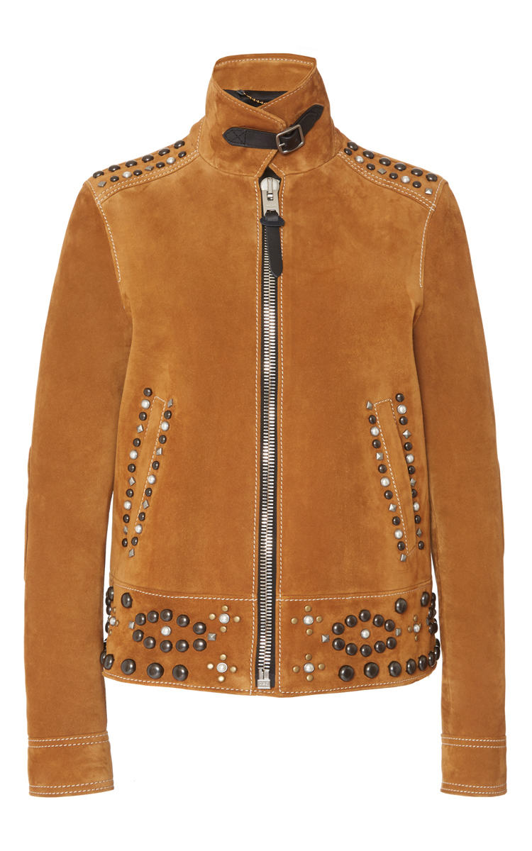 black jacket studded in tough leather faux moto stud perfect the of amount akira embroidered floral front view