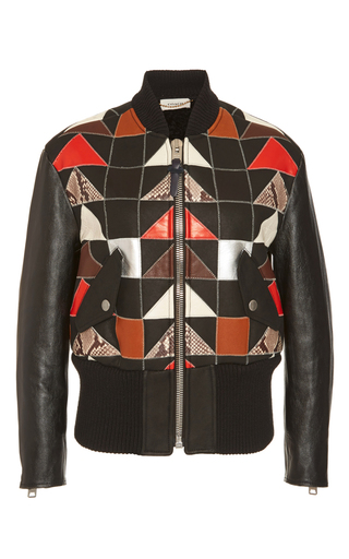 Medium coach 1941 black patchwork shearling bomber jacket