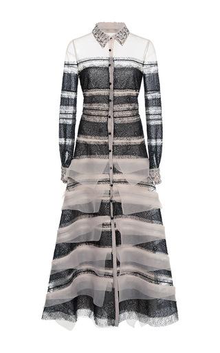 Medium carolina herrera multi lace and organza shirt dress