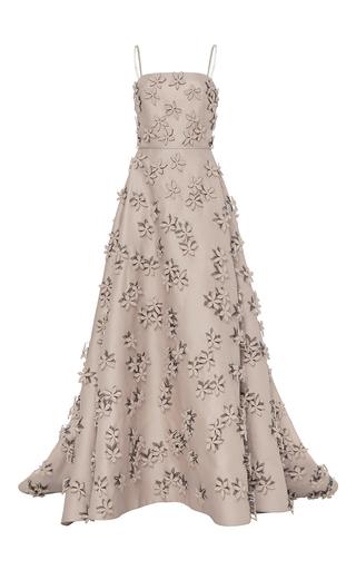 Medium carolina herrera nude gazar gown with floral embellishments