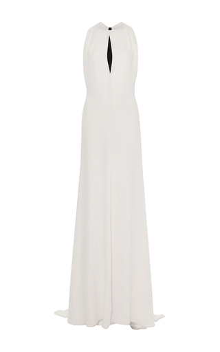 Medium carolina herrera white sleeveless gown with exposed back