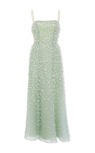 Medium carolina herrera green organza dress with 3d flower