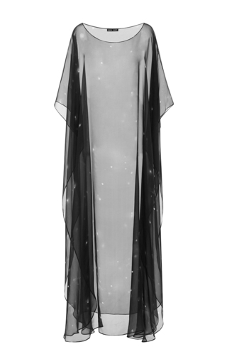 Medium baja east black galaxy silk chiffon gown