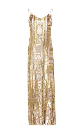 Medium baja east gold gold windowpane velvet dress