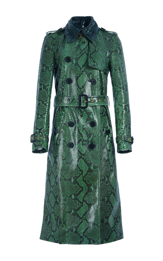 Medium burberry green python trench coat with belted waist