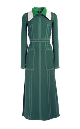 Medium burberry dark green georgette dress with detachable collar