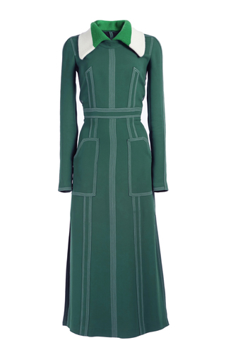 Medium burberry dark green georgette dress with detachable collar