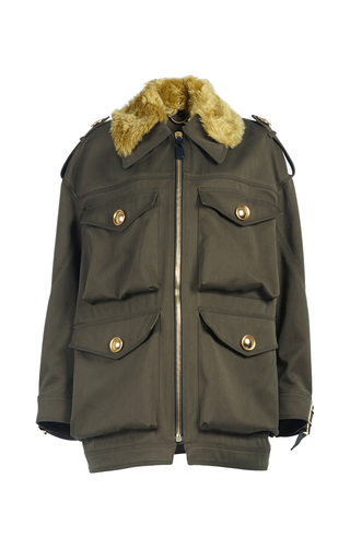 Medium burberry dark green field jacket with shearling collar