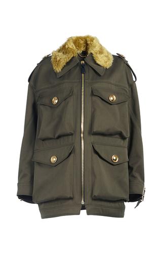 Medium burberry dark green field jacket with shearling collar