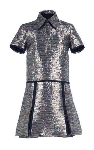 Medium burberry silver floral printed metallic jacquard shirt dress