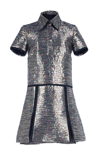 Medium burberry silver floral printed metallic jacquard shirt dress