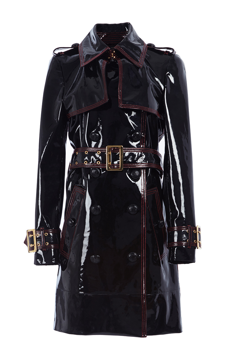 9b37d9c371b4 Patent Lambskin Trench Coat by Burberry