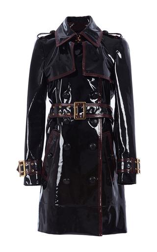 Medium burberry black patent lambskin trench coat