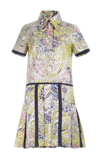 Medium burberry multi metallic paisley jacquard shirt dress