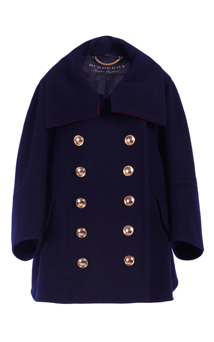 Cashmere Military Coat with Brass Buttons