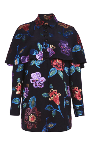 Medium burberry floral caped shirt with metallic flowers