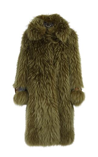 Medium burberry green raccoon fur oversized coat