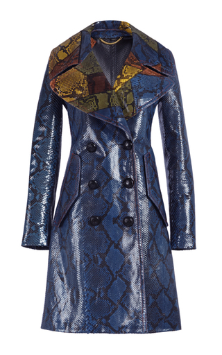 Medium burberry blue glossy python double breasted coat
