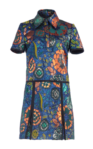 Medium burberry blue metallic floral jacquard pleated shirt dress  2