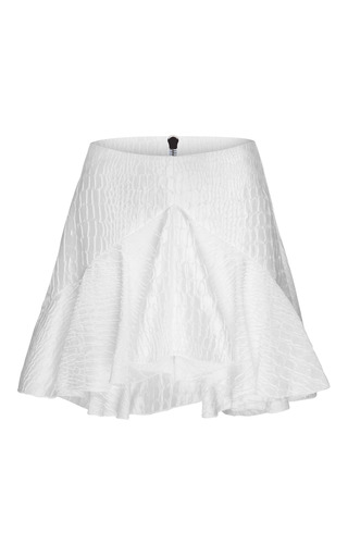 Medium alex perry white laurel silk reptile ruffle mini