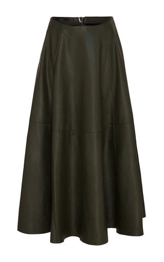 Medium alex perry black kari leather midi skirt