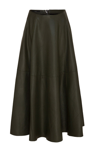 Medium alex perry black kari leather midi skirt