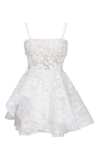 Medium alex perry white alete strapless floral lace mini