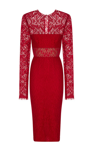 Medium alex perry red madalene cloque lace long sleeve pencil dress