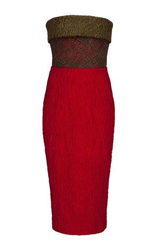 Medium alex perry red celesse cloque lace contrast strapless pencil dress