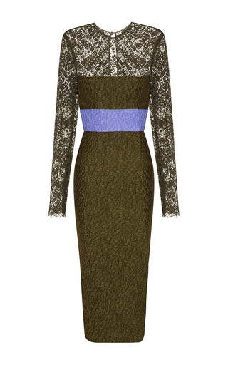 Medium alex perry khaki eliza cloque lace long sleeve contrast pencil dress